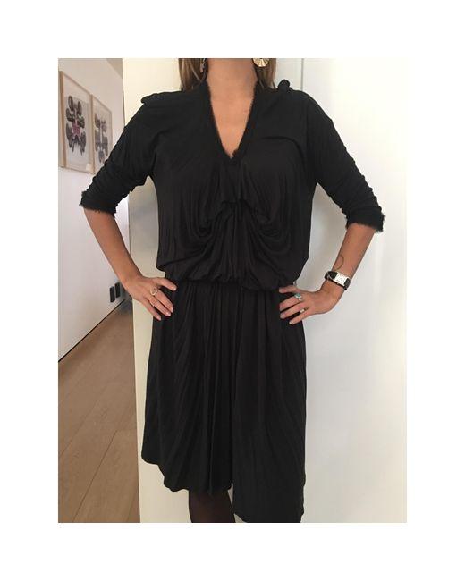 Robe mi-longue coton noir Lanvin en coloris Black