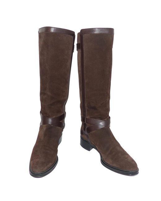 Bottes cavalières daim marron Tod's en coloris Brown