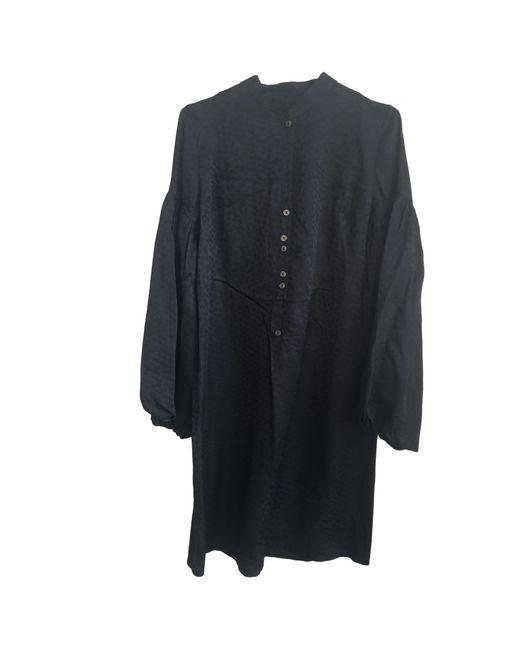 Robe mi-longue soie noir Maje en coloris Black