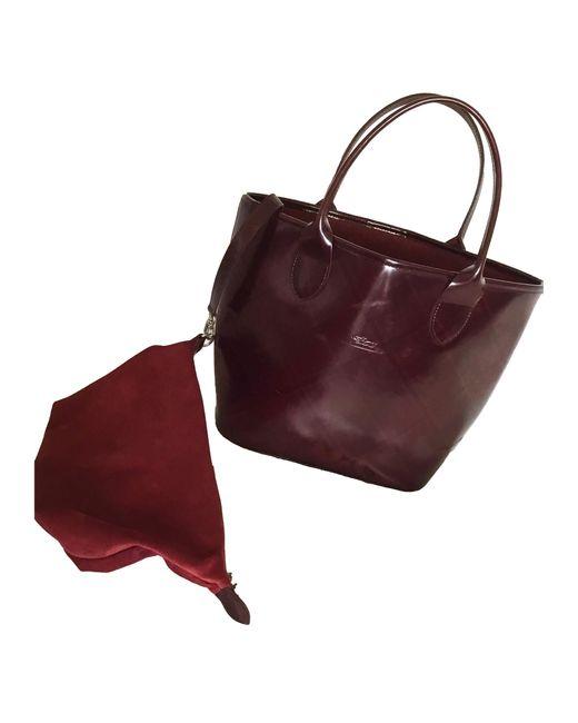 Sac à main en cuir cuir irisé rouge Longchamp en coloris Red