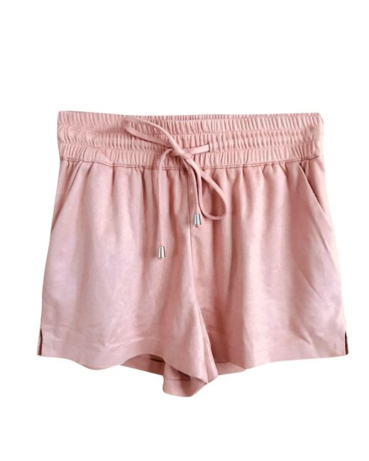style top Achat performance fiable Short daim rose femme