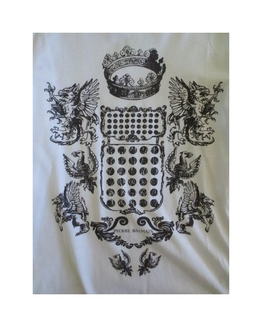 Top, tee-shirt coton blanc Balmain en coloris White