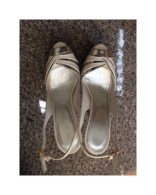 Escarpins à bouts ouverts cuir blanc Sergio Rossi en coloris White