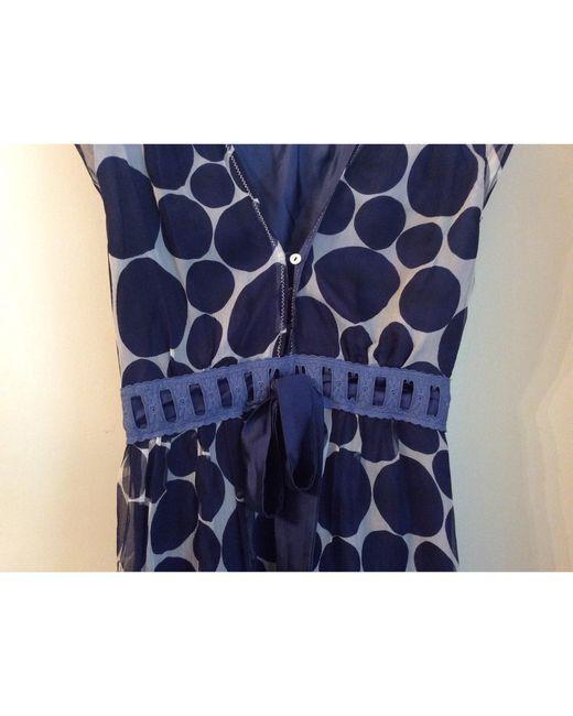 Robe mi-longue soie autre Sandro en coloris Blue