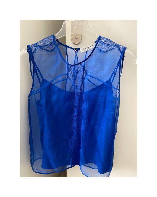 Top, tee-shirt soie bleu Sandro en coloris Blue