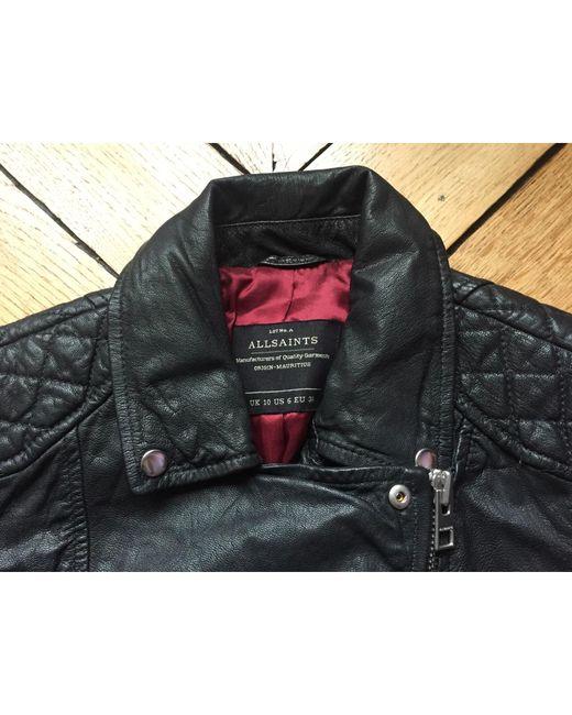 Blouson en cuir cuir noir AllSaints en coloris Black