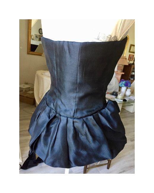 Bustier soie noir Dior en coloris Black