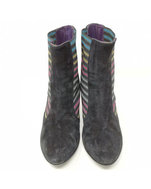 Bottines & low boots à talons daim noir Missoni en coloris Black