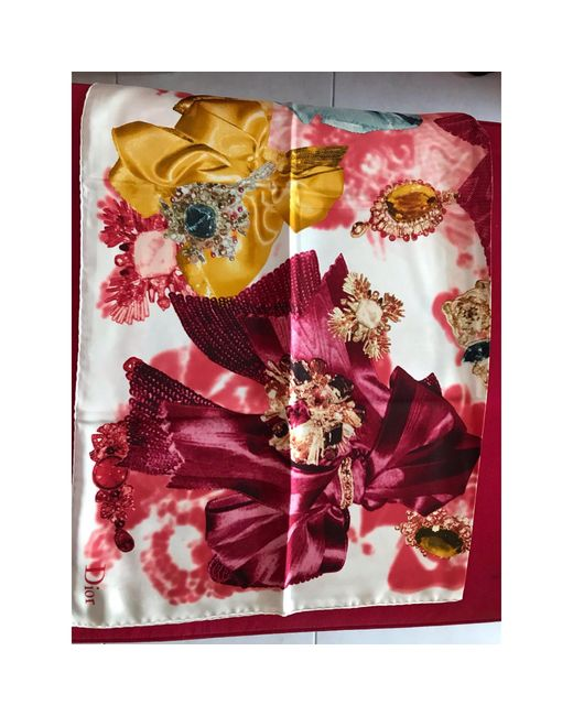 Foulard soie multicolore Dior en coloris Red