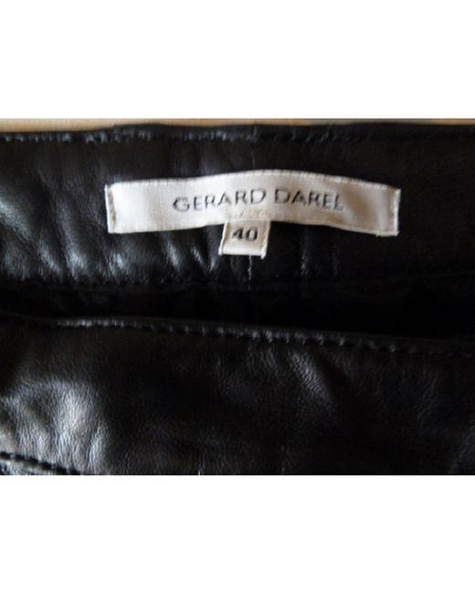 Gerard Darel Pantalon droit cuir noir femme