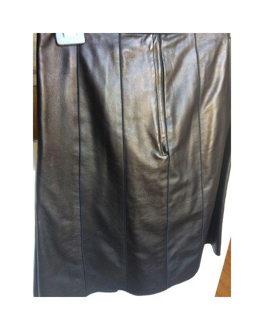Jupe mi-longue cuir noir Marc Jacobs en coloris Black