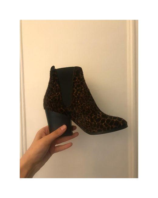 Bottines & low boots plates cuir noir The Kooples en coloris Black