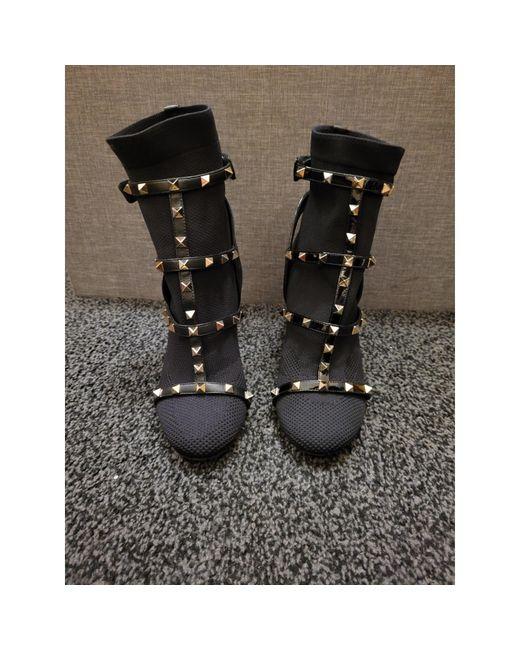 Bottines & low boots à talons tissu noir Valentino en coloris Black