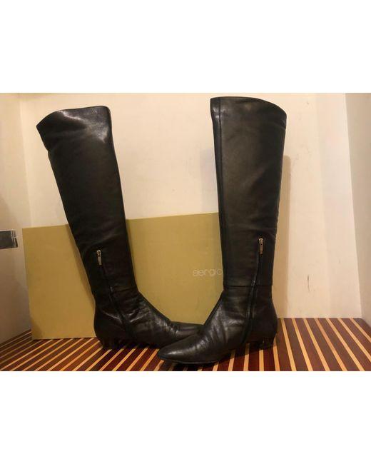 Bottes cuissards cuir noir Sergio Rossi en coloris Black