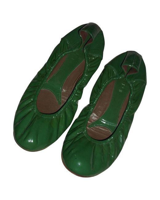 Ballerines cuir verni vert Marni en coloris Green
