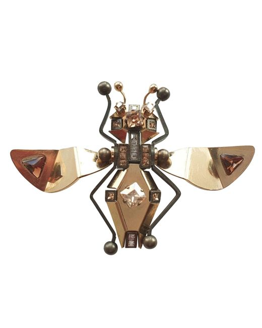 Broche cristal doré Lanvin en coloris Metallic
