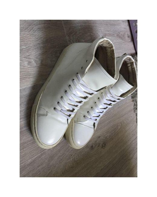 Baskets cuir verni blanc Sandro pour homme en coloris White