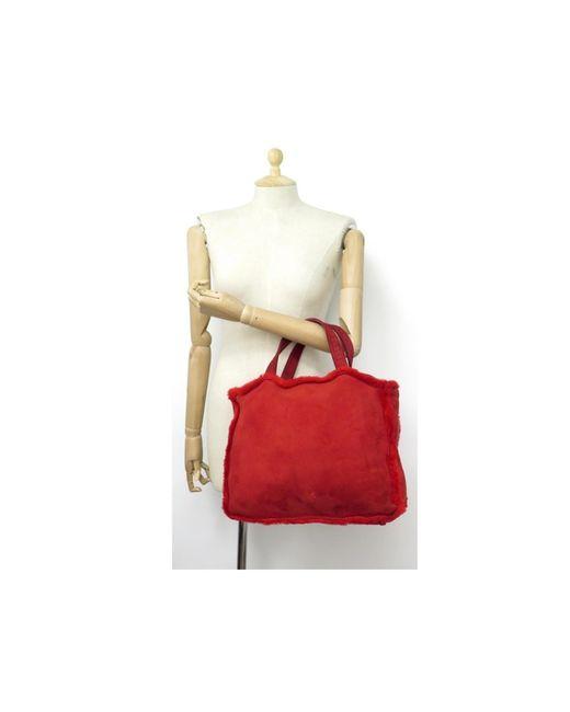 Sac à main en cuir daim - veau velours autre Chanel en coloris Red