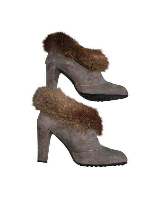 Bottines & low boots à talons daim beige Tod's en coloris Natural