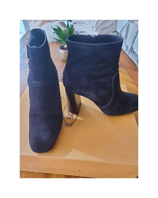 Bottines & low boots à talons daim noir Tod's en coloris Black