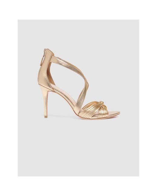 Sandales à talons cuir doré Sandro en coloris Metallic