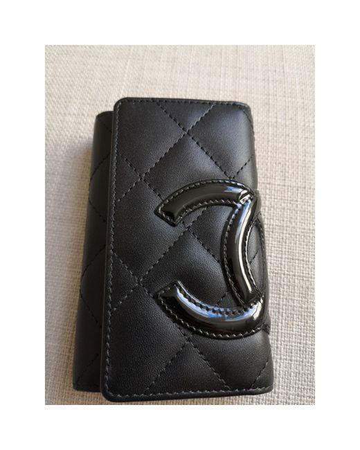 Porte-clés cuir noir Chanel en coloris Black