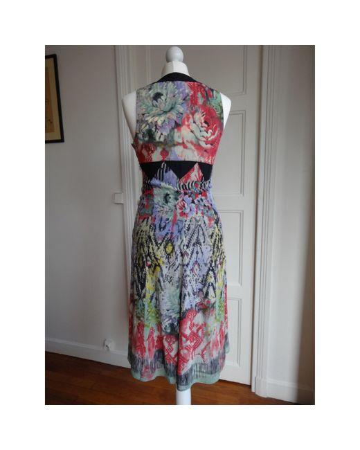 Robe mi-longue soie multicolore Etro