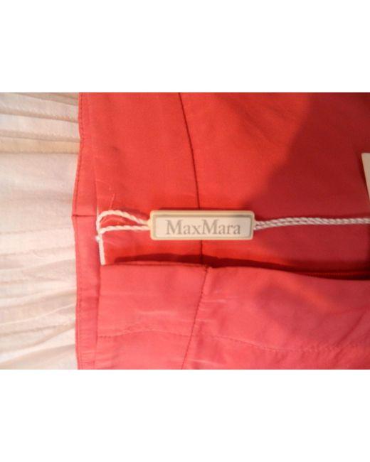 Pantalon droit 70% polyester 30%soie rose Max Mara en coloris Pink