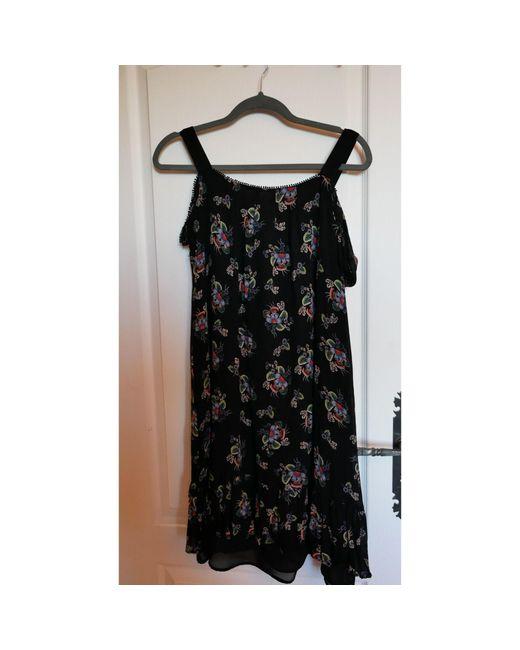 Robe mi-longue soie noir Claudie Pierlot en coloris Black
