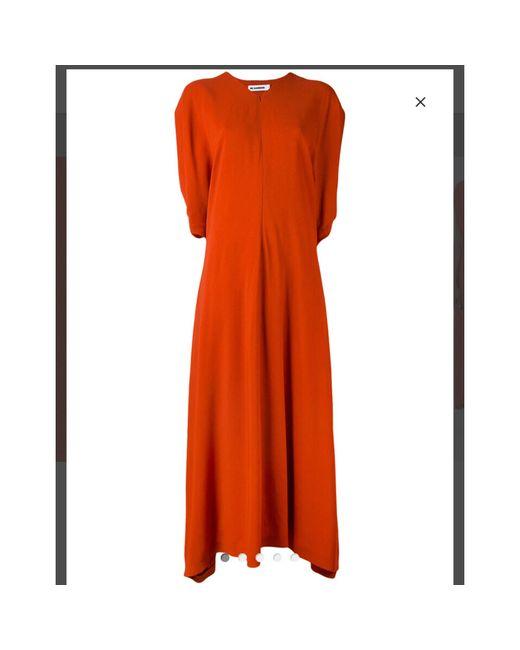 Robe longue soie orange Jil Sander