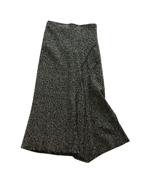 Gerard Darel Jupe mi-longue laine noir femme iWOiN