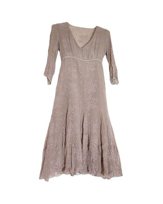 Robe mi-longue soie gris Sandro en coloris Gray