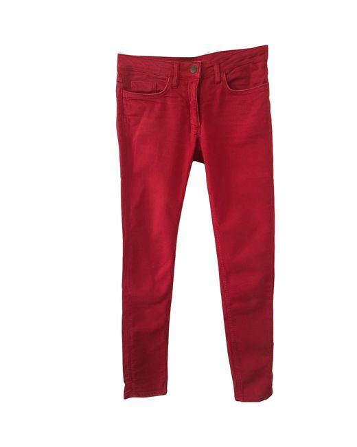 Jeans slim coton rouge Sandro en coloris Red
