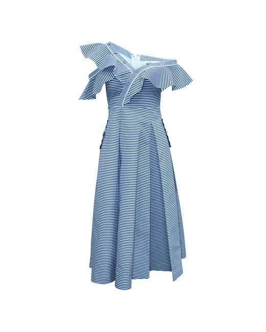Robe courte coton bleu Self-Portrait en coloris Blue