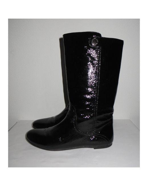 Bottes plates cuir verni noir Marc Jacobs en coloris Black