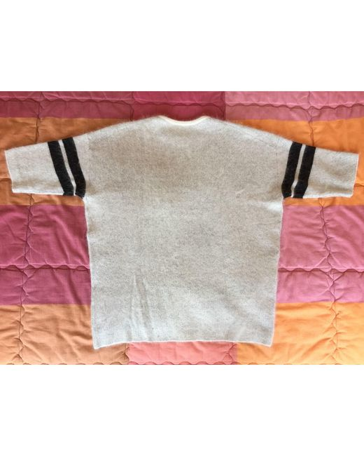 Pull tunique angora gris Maje en coloris Gray