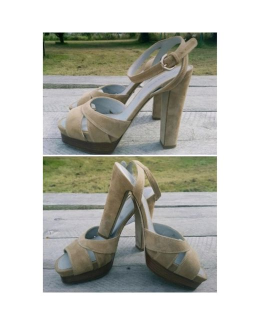 Sandales à talons cuir beige Sergio Rossi en coloris Natural