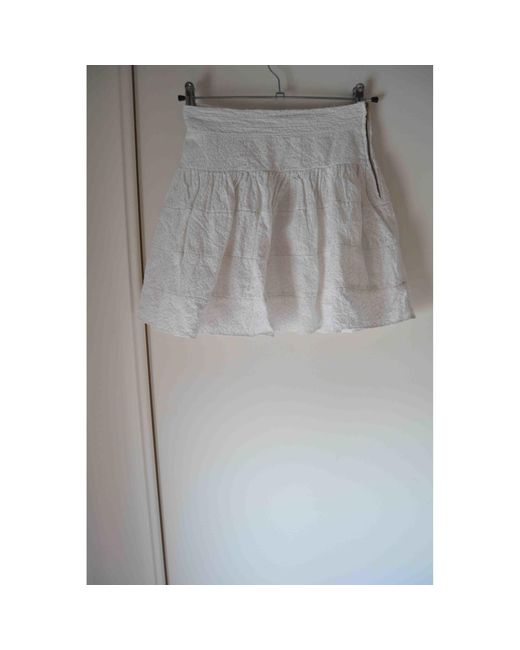Jupe courte coton blanc Maje en coloris White