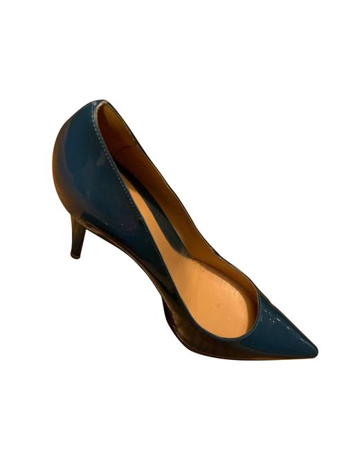 Escarpins cuir verni bleu Sergio Rossi en coloris Blue