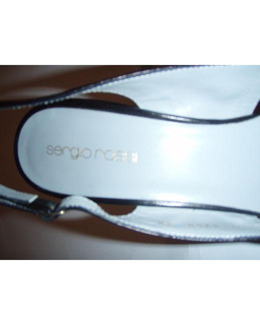 Escarpins à bouts ouverts cuir noir Sergio Rossi en coloris Black