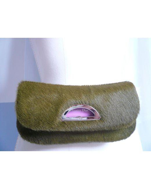 Sac pochette en cuir poulain vert Dior en coloris Green