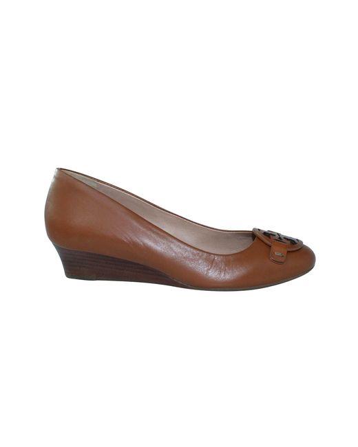 Escarpins compensés cuir marron Tory Burch en coloris Brown