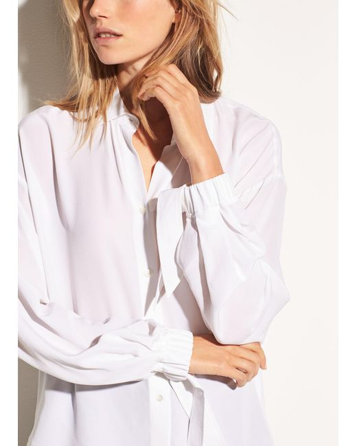 Vince - White Tie Sleeve Silk Blouse - Lyst