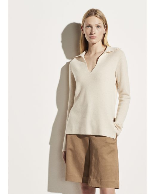 Vince White Wool Cashmere Fitted Polo