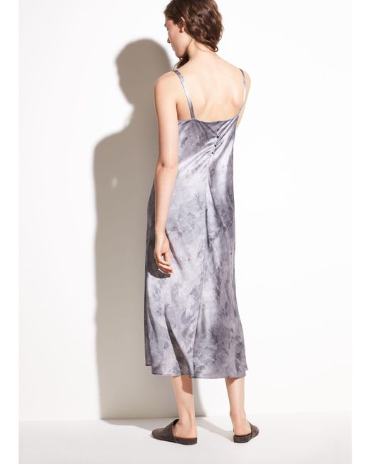 Vince Watercolor Marble Shirred Silk Satin Cami Dress Lyst