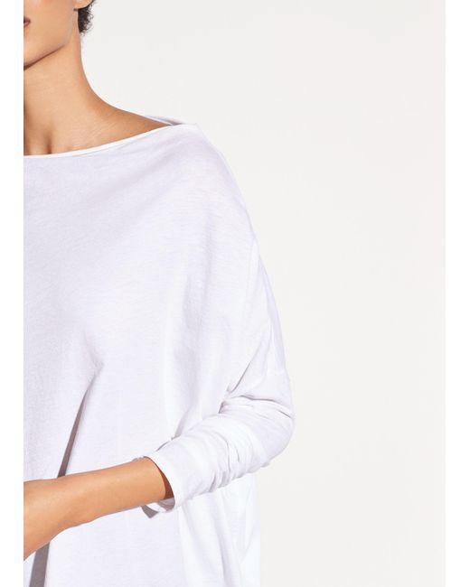 Vince | White Pima Cotton Mock Neck Top | Lyst