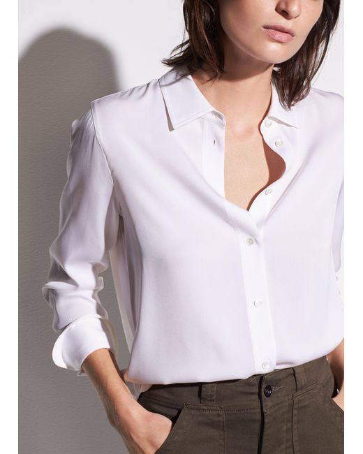 Vince - Black Slim Fitted Stretch-silk Blouse - Lyst