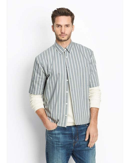 Vince   Green Narrow Stripe Half Sleeve Button Up for Men   Lyst