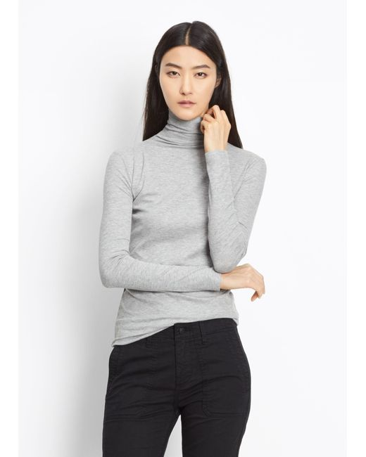 Vince | Gray Rib Knit Turtleneck | Lyst