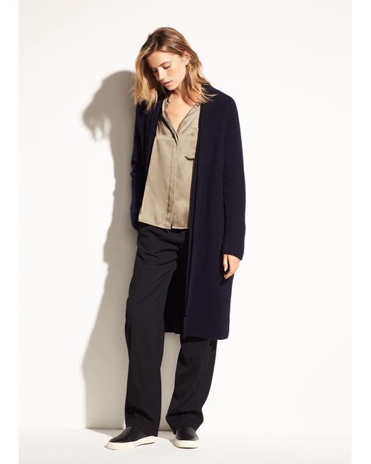 Vince - Natural Saddle Shoulder Wool And Cashmere Cardigan - Lyst